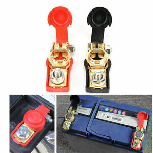 2x Car Battery Terminal Connector Clip Clamp Cover Negative Positive Red+Black