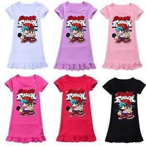 Girls Nightdress Friday Night Funkin Short Sleeve Dress Kids Sleepwear Dress
