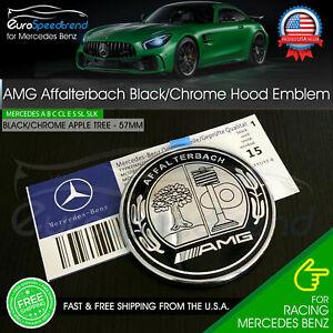 AMG Hood Emblem Affalterbach Black Chrome Apple Tree Mercedes Benz 57mm Front OE