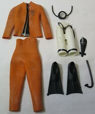 Vintage Hasbro GI Joe Danger of the Depths Orange Wetsuit & Accessories Lot