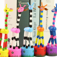 2pc Children Wooden Giraffe Push Puppets Kids Dancing Desktop Educational Toy UK