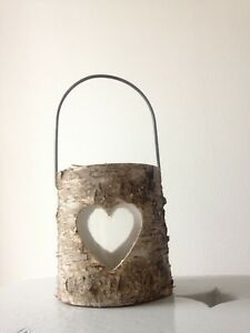 Cute real wood bark rustic candle holder with heart cut out & handle