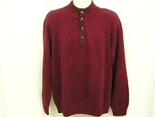 Mens Sweater Mock Turtleneck Size Large Mottled Burgundy Brown Van Heusen