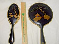 Vintage Chinese Bakelite Black and Gold Large Hand Painted Mirror and Brush Set