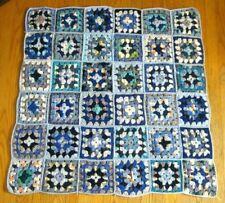 "Blue Afghan Blanket 45""X45"" Lt Blue Border No Combine Shipg Discs Throw"