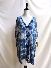 Billabong One Size Fit All Tunic Short Dress Beach Cover Blue White Lace Trim
