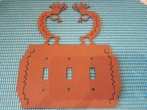Southwestern Kokopelli Light Triple Switch Metal Plate Cover Copper Color