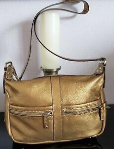 "Women's Large Gold Leather ""TIGNANELLO"" Designer Crossbody Shoulder Bag Purse"