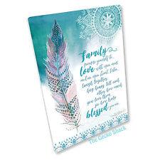 Family Love Mystic Spirit Feather Ceramic Affirmation Plaque Decor Lisa Pollock