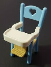 FISHER-PRICE LOVING FAMILY DOLLHOUSE FURNITURE BLUE & WHITE BABY HIGH CHAIR ONLY