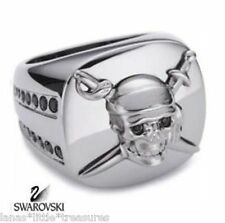 NWT Swarovski Swan Signed Disney Pirates Carribbean SKULL SWORDS Size 9 (60)