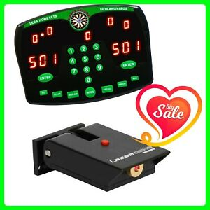 Darts Deluxe Electronic Dart Scorer with Winmau Laser Oche for Darts Throw Line