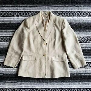 Talbots Petites Sz 10P 100% Irish Linen Lined 2 Button Blazer Beige Natural