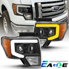 Sequential /DRL 2009-2014 Ford F-150 Truck Black Projector Headlights Head Lamps