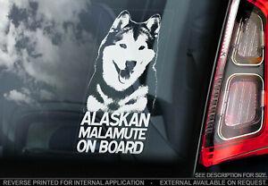ALASKAN MALAMUTE Car Sticker, Sled Dog Window Bumper Sign Decal Gift Pet - V01