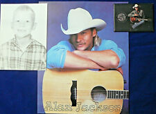 Alan Jackson Fan Club Souviners - 3 Items - Picture Magnet & Birthday Post Card