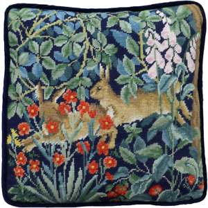 Bothy Threads Greenery Hares Tapestry Cushion Front Kit by William Morris