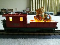 O scale Custom Christmas Work Caboose w/lights. fits Lionel, MTH one of a kind