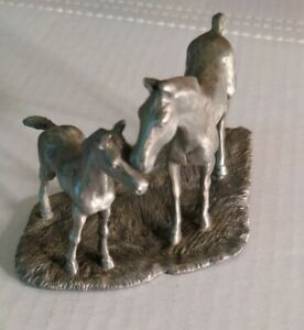 Vintage 1977 Rawcliffe Pewter Horses Figurine Mare and Foal