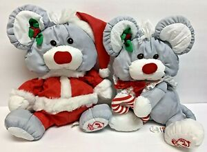 Lot 2 Fisher Price Puffalump Christmas Gray Mouse 1988 1987 Santa Suit Candy