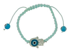 Hamsa with Evil Eye Protection Bracelet in Light Blue