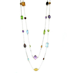 14K White Gold Necklace With Multi-Shaped Gemstones By The Yard 36 Inches