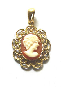 9ct Gold Hallmarked Fancy Filigree  Real Cameo Pendant                     90250