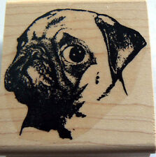 """P7 Pug dog rubber stamp by request 2.5x2.2"""" Wm"""