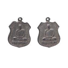 Antique Silver Sitting Buddha Badge Pendants 29mm Pack of 2 (C55/15)
