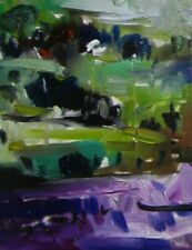 """JOSE TRUJILLO OIL PAINTING Impressionism LAVENDER FIELD SIGNED CANVAS 024 8X10"""""""