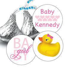 108 Baby Girl Rubber Ducky Baby Shower Hershey Kiss Stickers Party Favors