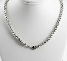 "29.59 gram 14k White Gold Men's Women's Bead Moon Cut Chain Necklace 26"" 5 mm"