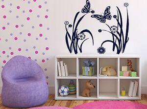 Wall Sticker Vinyl Decal Summer Meadow Flowers Butterflies Grass Decor (n123)
