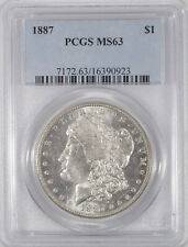 PCGS MS-63 1887 Morgan Silver dollar choice Blast White semi-prooflike no toning