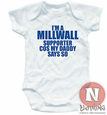 Naughtees Clothing Babygrow I'm Millwall Supporter Daddy White Cotton Babysuit