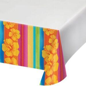 Hawaiian Luau Party Sunset Stripes Plastic Tablecloth