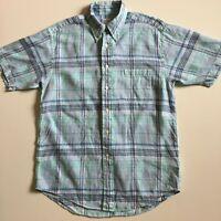 Brooks Brothers Madison Men's M Blue Plaid Check Irish Linen Shirt short sleeve
