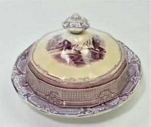 Antique c1856 A. SHAW Purple Transferware POMONA Pattern 3 Pc Butter Dish