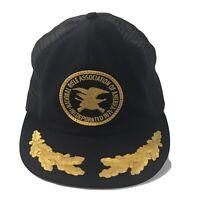 VTG NRA Logo Patch Snapback Trucker Hat Mesh Cap Gold Leaf Black USA Vintage