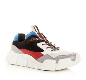 $850 Salvatore Ferragamo Men Booster Suede & Leather Dad Sneakers Pale Gray US10