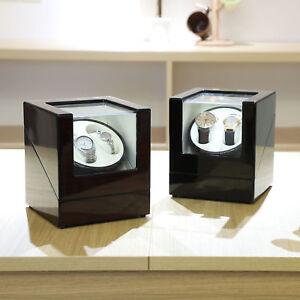 Automatischer Uhrenbeweger Uhrenbox Uhrenkasten Watchwinder Box Holz 2 Uhren