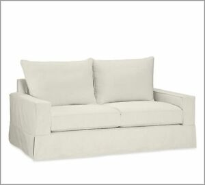 Pottery Barn Comfort Sofa Square Slipcover set - Cream Twill - Knife Edge