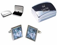 Your Photo Cufflinks +Your Text Personalised Engraved Case Wedding Birthday Gift