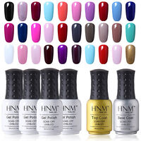 HNM Soak Off UV LED Color Gel Nail Polish Top Base Coat Manicure Lacquer 8ml New