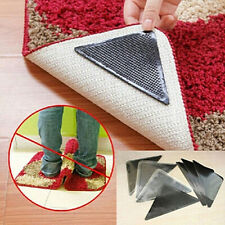 4 Pair Rug Carpet Mat Grippers Non Slip Anti Skid Reusable Washable Silicone Pad