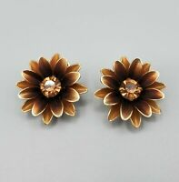 Mid Century Coro Signed Bronze Copper Ombre Crystal Daisy Clip Earrings
