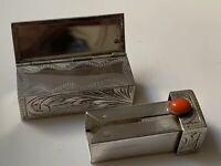 Stunning Vintage Solid Silver 800 Lipstick Case Holder & Mirror 23.3g