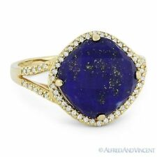 14k Yellow Gold Right-Hand Cocktail Ring 5.93 ct Cushion Cut Blue Lapis Diamond