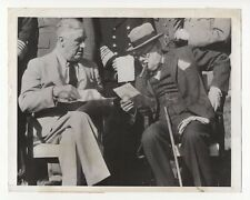Winston Churchill & Franklin Roosvelt - Vintage Wire Service Photo