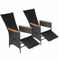 vidaXL 2x Reclining Dining Chairs Black Wicker Poly Rattan Garden Chairs Seats